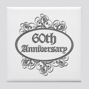 60th Wedding Aniversary (Engraved) Tile Coaster